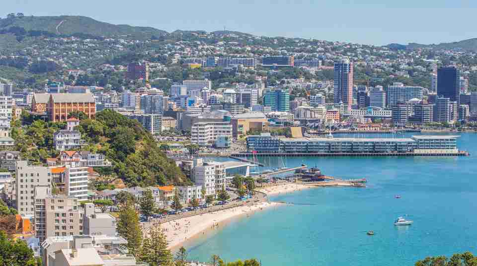 Summer view of Oriental Bay and Wellington CBD